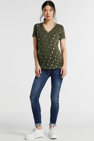 zwangerschapsshirt met all over print groen
