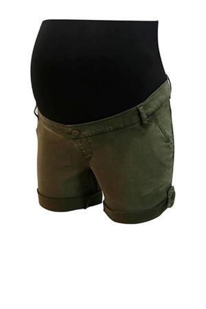 low waist skinny short donkergroen