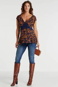 LOVE2WAIT zwangerschapsshirt met dierenprint donkerblauw/bruin, Donkerblauw/bruin