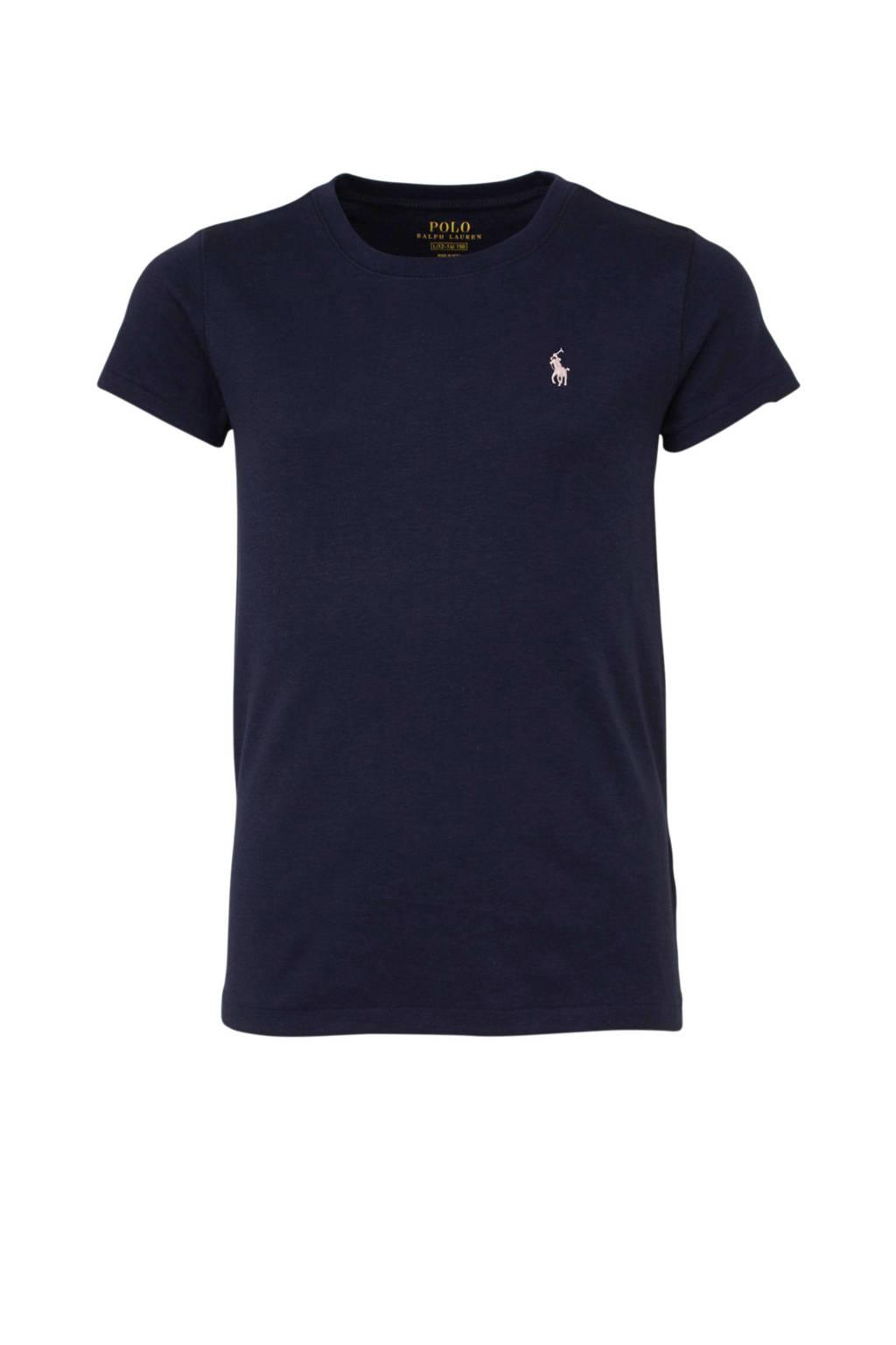 POLO Ralph Lauren T-shirt met logo en borduursels donkerblauw/lichtroze, Donkerblauw/lichtroze