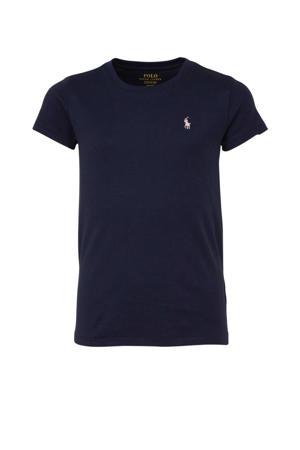 T-shirt met logo en borduursels donkerblauw/lichtroze
