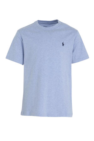 T-shirt met logoborduursel lichtblauw
