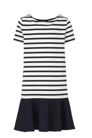 gestreepte jersey jurk wit/donkerblauw