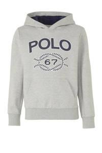 POLO Ralph Lauren hoodie met printopdruk lichtgrijs/donkerblauw/wit, Lichtgrijs/donkerblauw/wit
