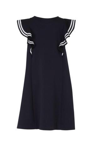 A-lijn jurk met ruches donkerblauw/wit