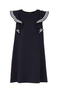 POLO Ralph Lauren A-lijn jurk met ruches donkerblauw/wit, Donkerblauw/wit