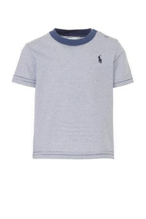 baby gestreept T-shirt wit/donkerblauw