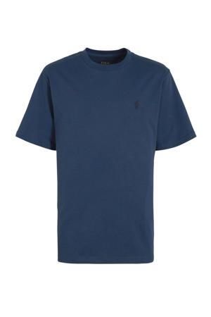 T-shirt met logoborduursel donkerblauw