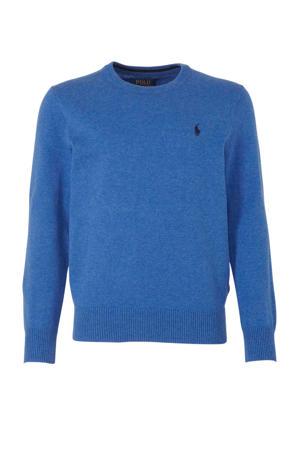 trui met borduursels blauw/donkerblauw