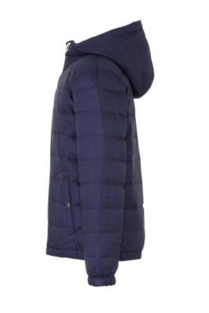 omkeerbare jas met borduursels donkerblauw/grijs