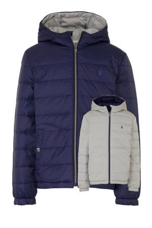 reversible jas met borduursels donkerblauw/grijs