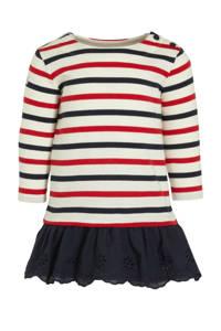 POLO Ralph Lauren gestreepte T-shirtjurk donkerblauw/ecru/rood, Donkerblauw/ecru/rood