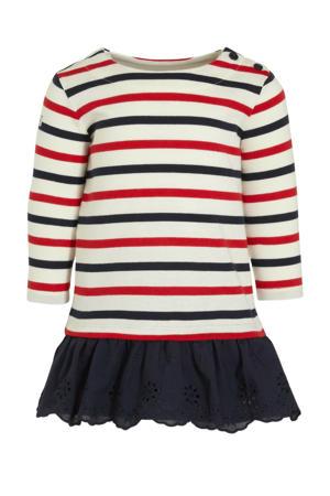 gestreepte T-shirtjurk donkerblauw/ecru/rood