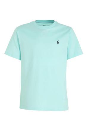 T-shirt met logoborduursel mintgroen