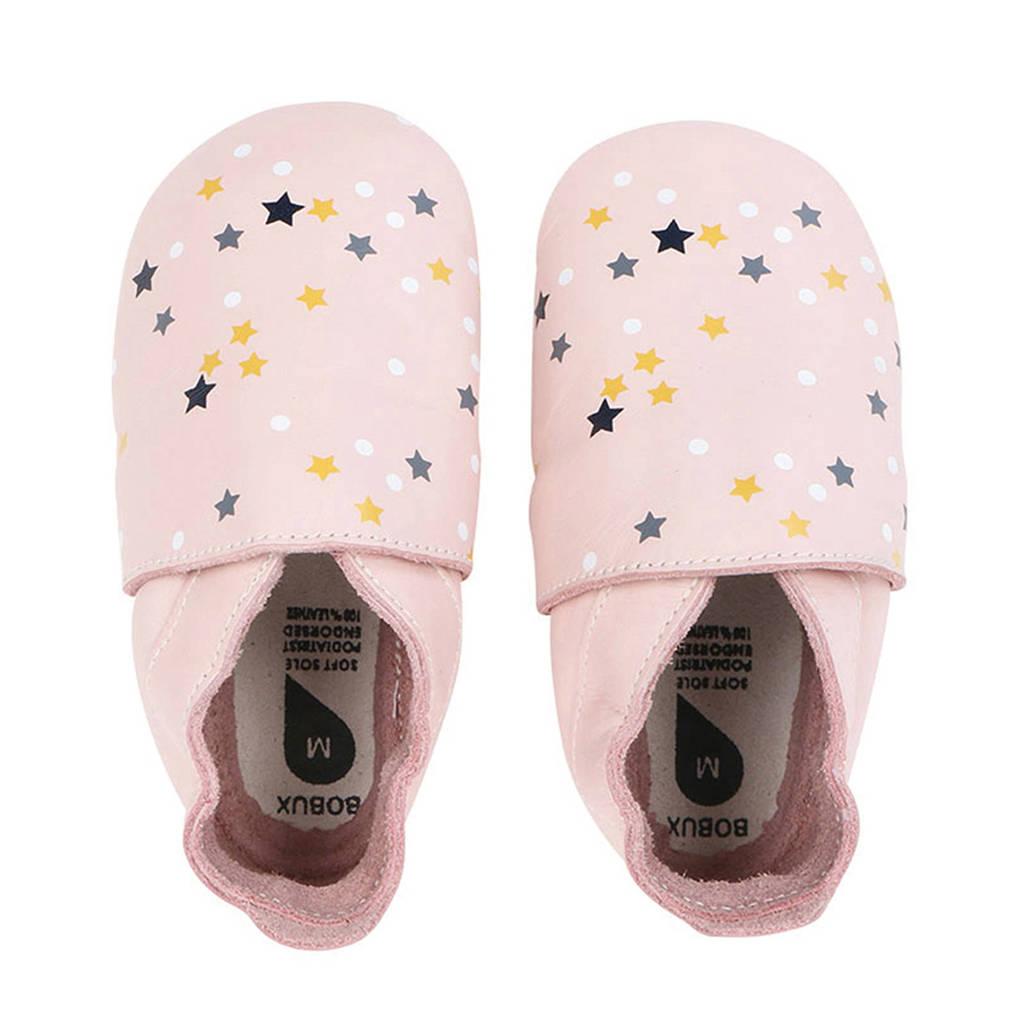 Bobux Soft Soles leren babyslofjes roze, Roze/multi