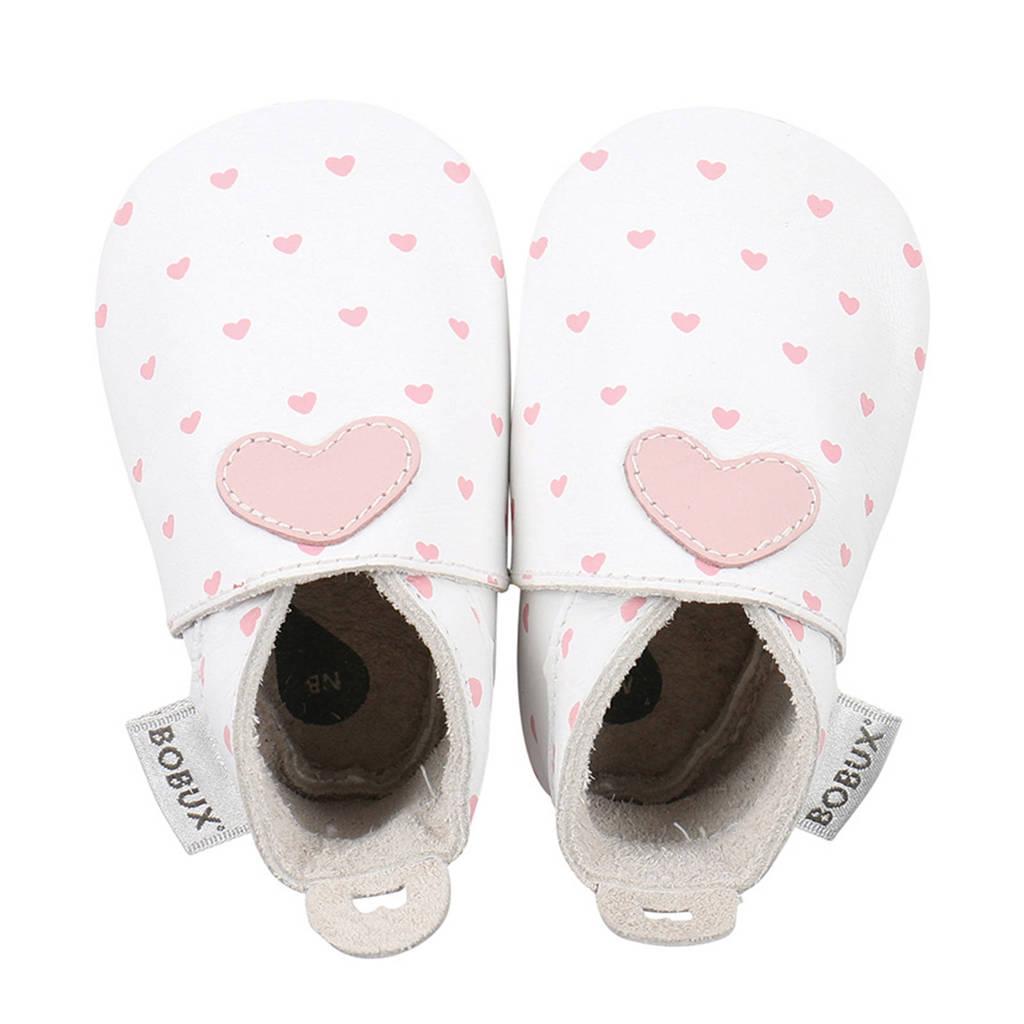 Bobux Soft Soles leren babyslofjes wit/roze, Wit/roze