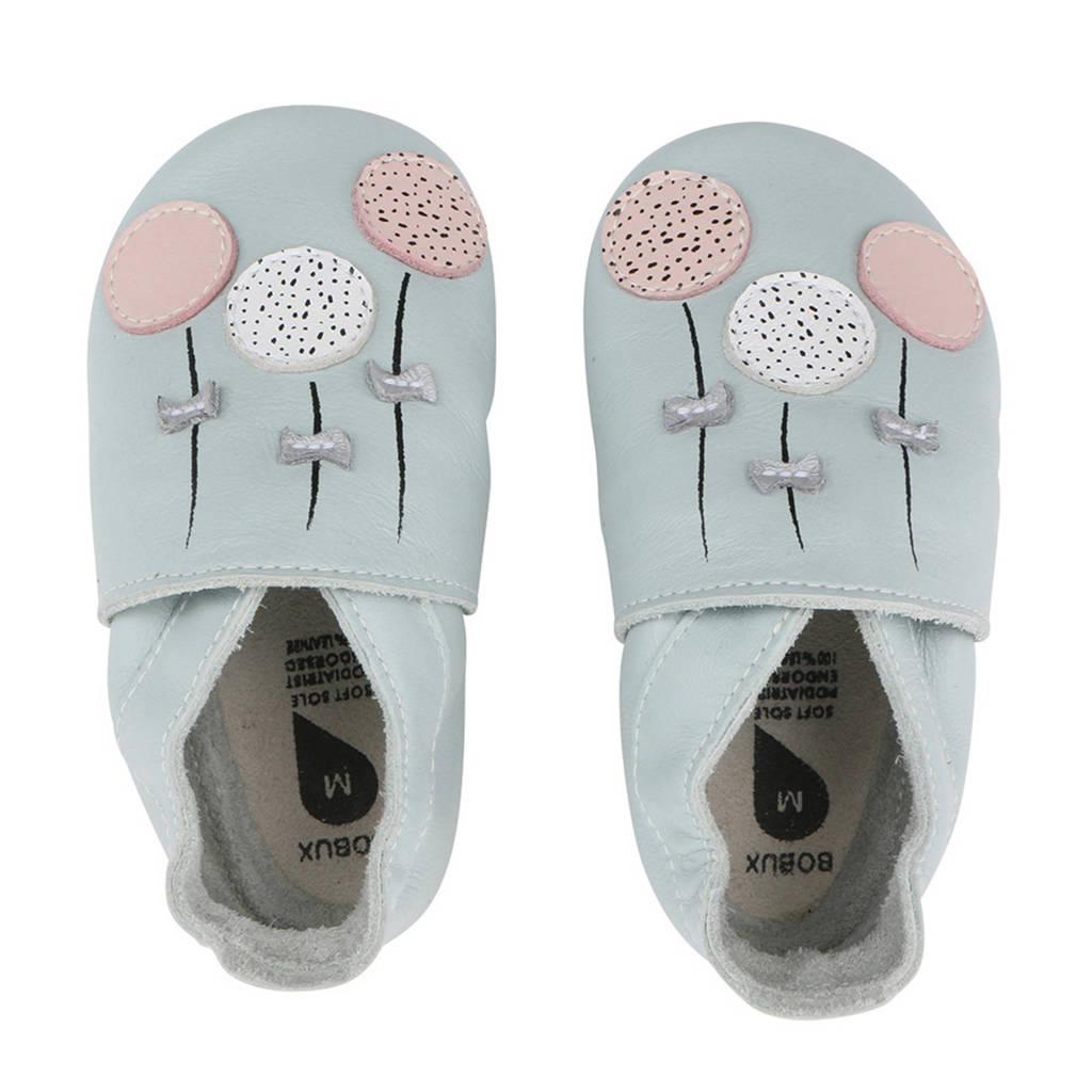 Bobux Soft Soles leren babyslofjes lichtblauw, Lichtblauw/roze