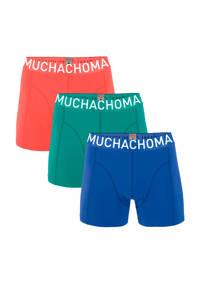 Muchachomalo   boxershort Solid - set van 3 blauw/groen/rood, Blauw/groen/rood
