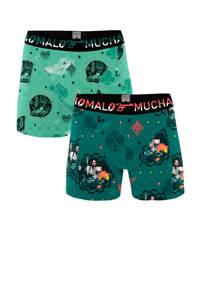 Muchachomalo   boxershort Casino Royale - set van 2 groen, Groen/lichtgroen