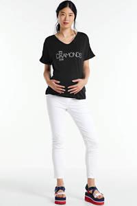 LOVE2WAIT zwangerschapsshirt met tekst donkerblauw/wit, Donkerblauw/wit