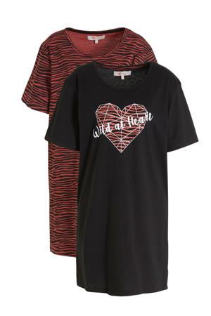 nachthemd (set van 2) zwart/rood