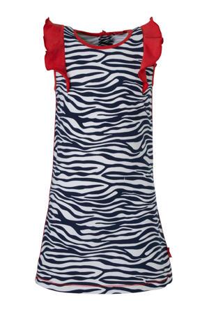 jersey jurk met zebraprint en contrastbies zebra