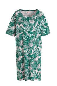 wehkamp katoenen nachthemd met bladprint, Groen/roze