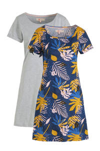 wehkamp nachthemd (set van 2) blauw/grijs, Blauw/grijs