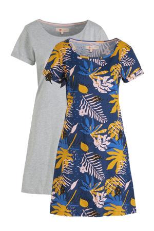 nachthemd (set van 2) blauw/grijs