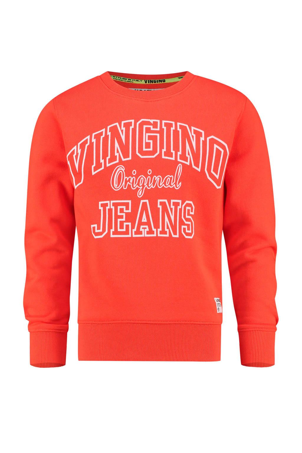 Vingino sweater Nate met logo oranjerood, Oranjerood