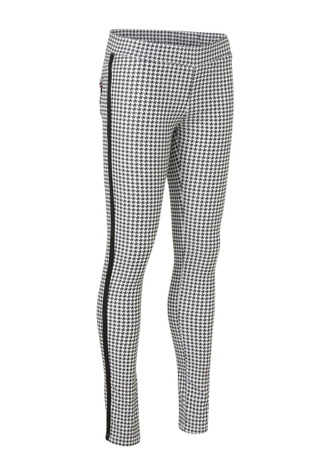 Vingino skinny broek Sunna met zijstreep wit/zwart, Wit/zwart