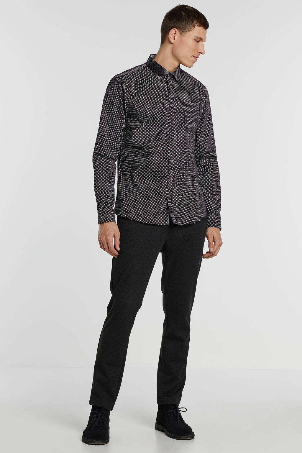 No Excess regular fit overhemd met all over print zwart/wit, Zwart/wit
