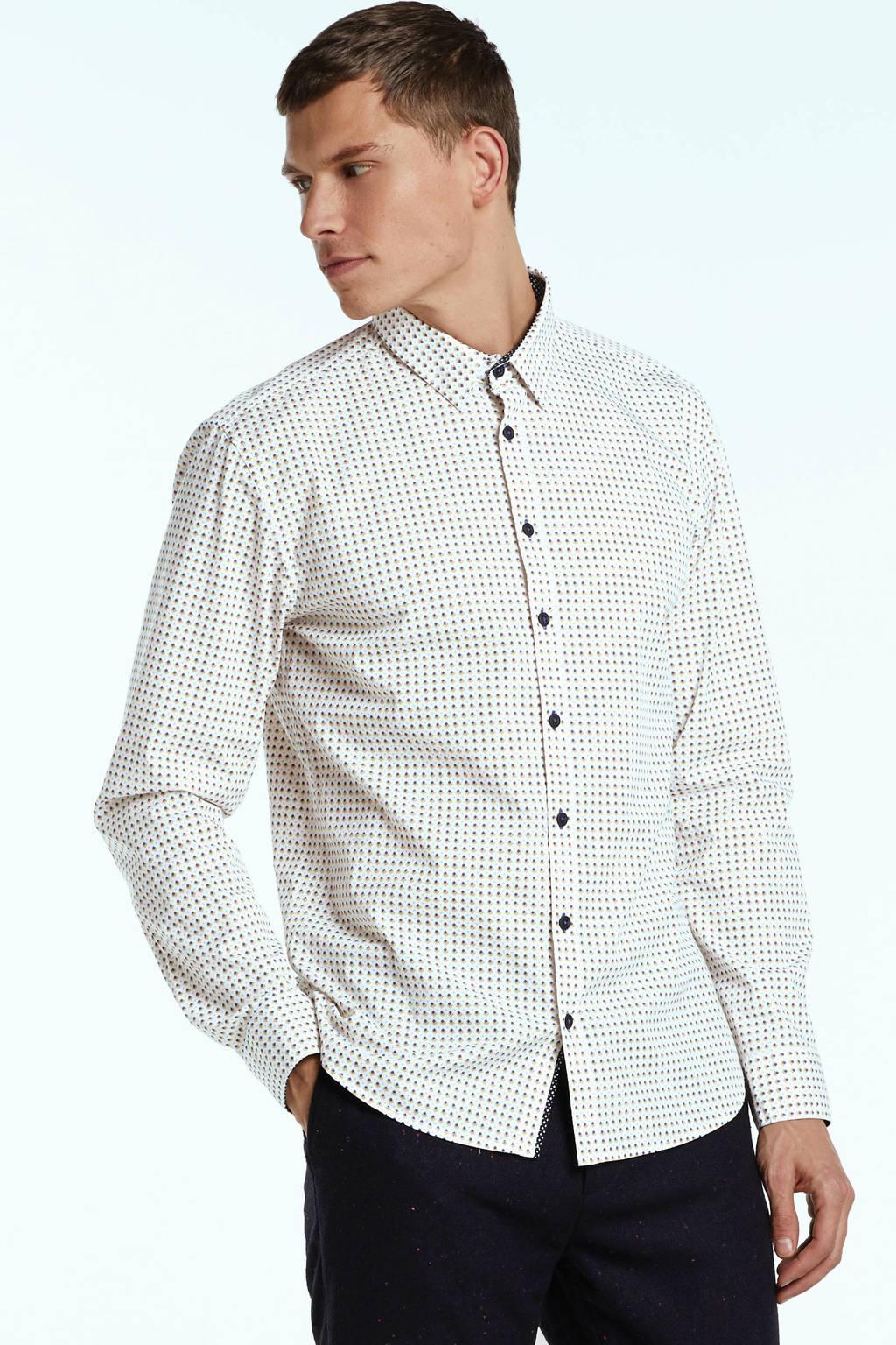No Excess slim fit overhemd met all over print wit/geel/blauw, Wit/geel/blauw