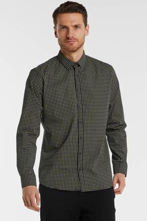 slim fit overhemd met all over print zwart/grijs/geel