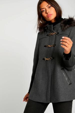 coat met wol grijs antraciet