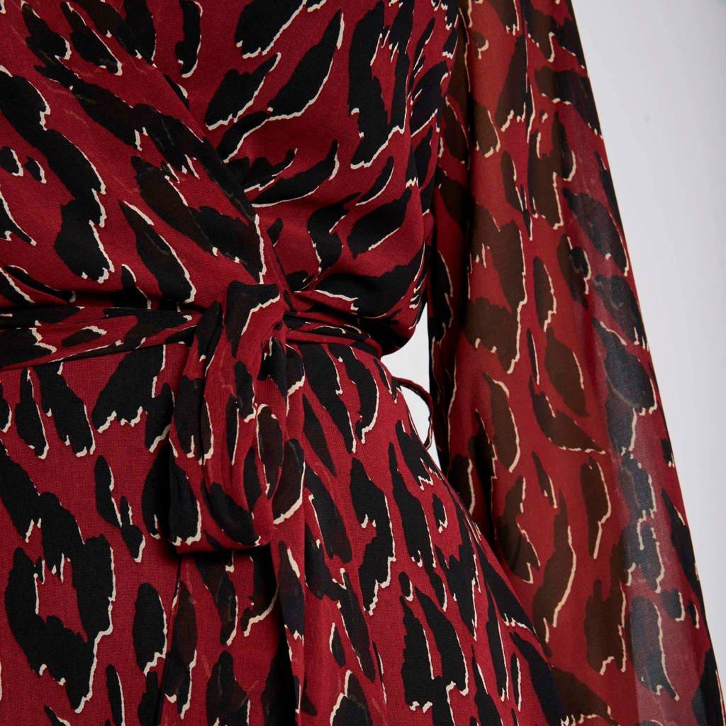 Morgan A-lijn jurk met all over print en ceintuur donkerrodd, Donkerrodd