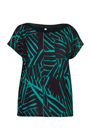top met all over print turquoise