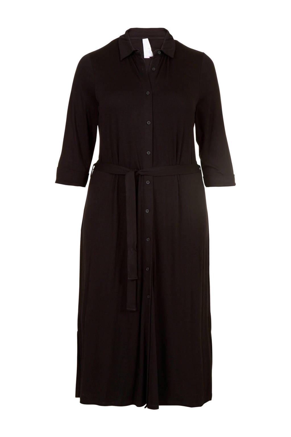 Miss Etam Plus blousejurk met ceintuur zwart, Zwart