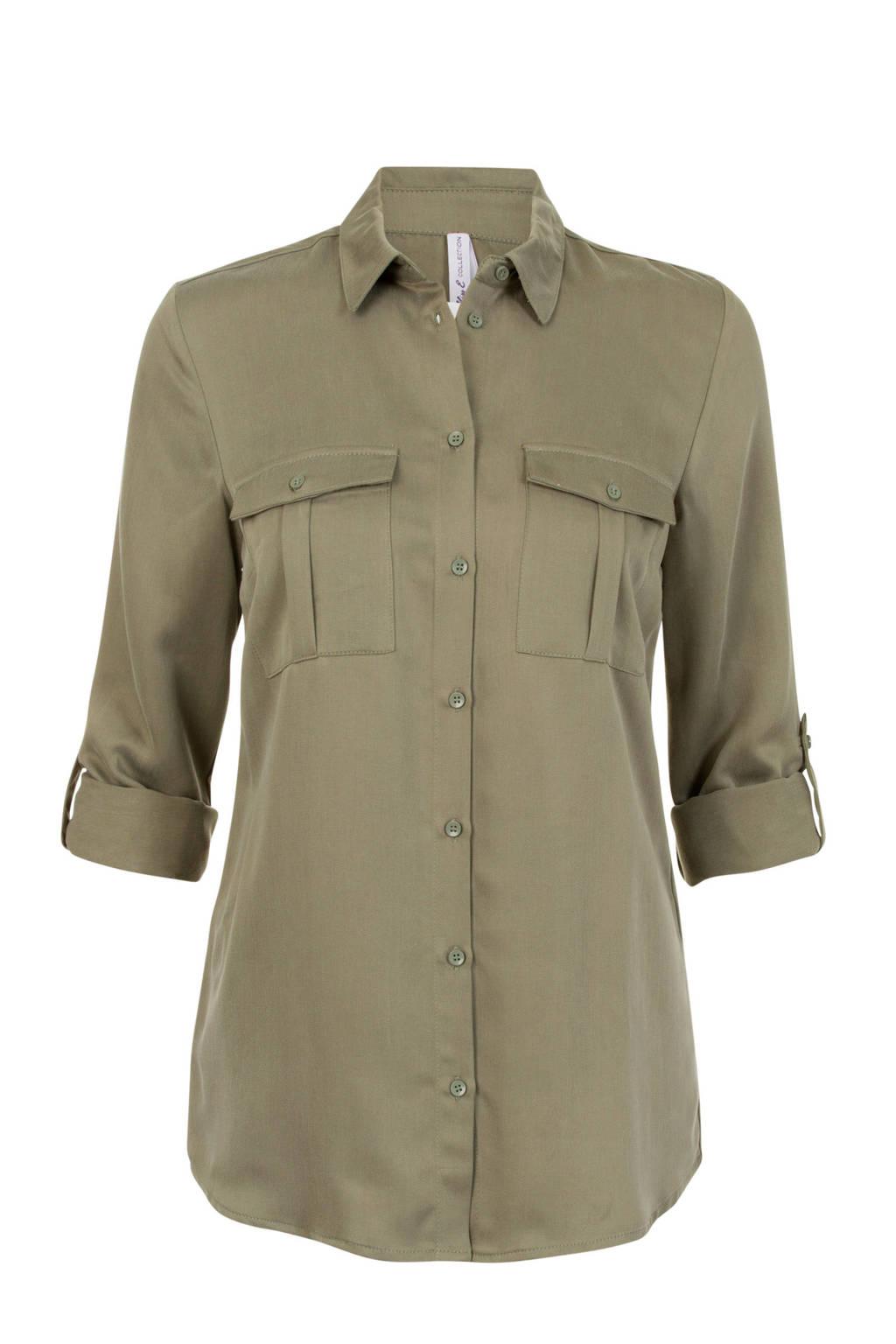 Miss Etam Regulier blouse olijfgroen, Olijfgroen
