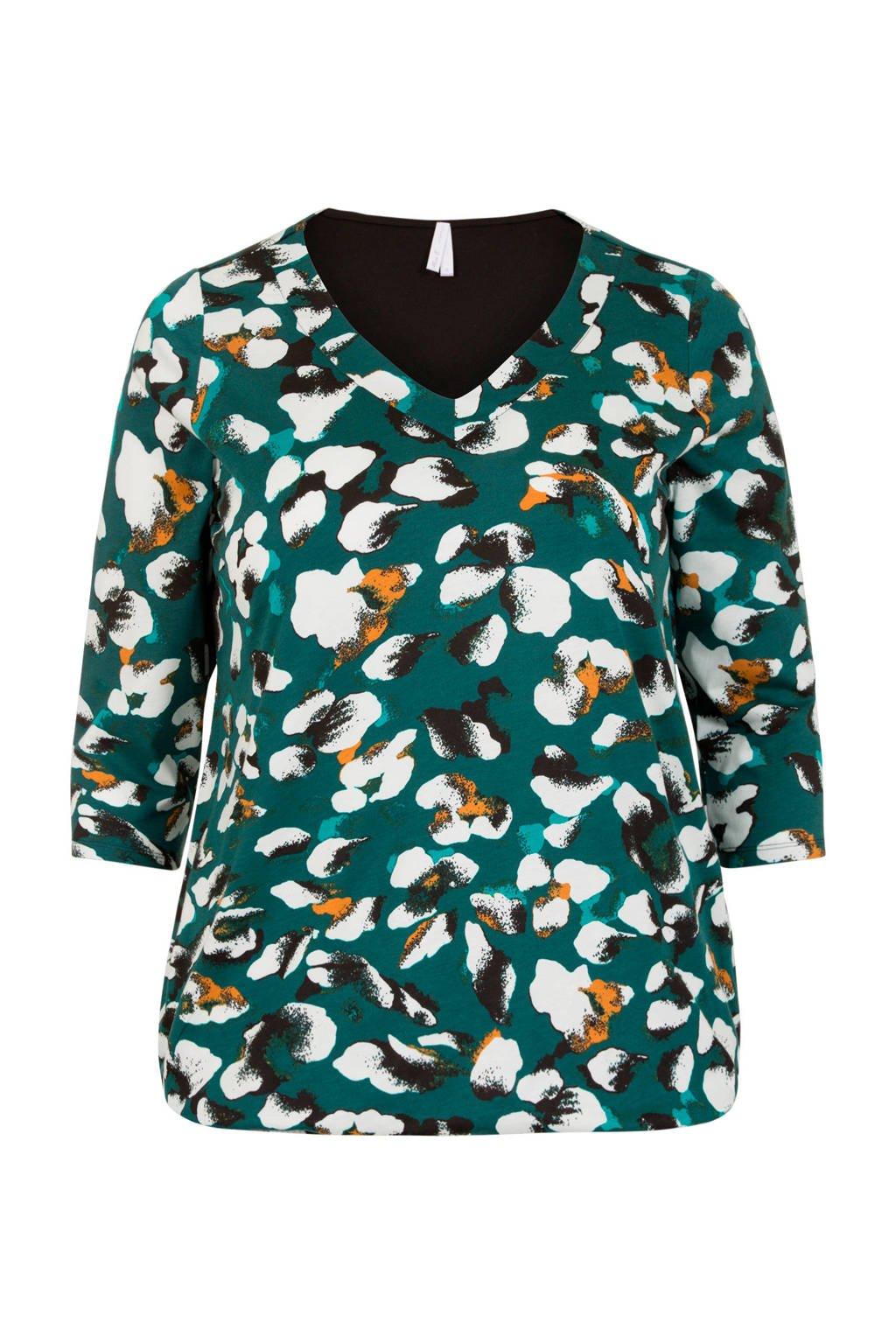 Miss Etam Plus geweven T-shirt met all over print groen, Groen