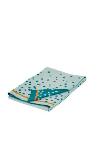 Gebreide deken happy dots blauw
