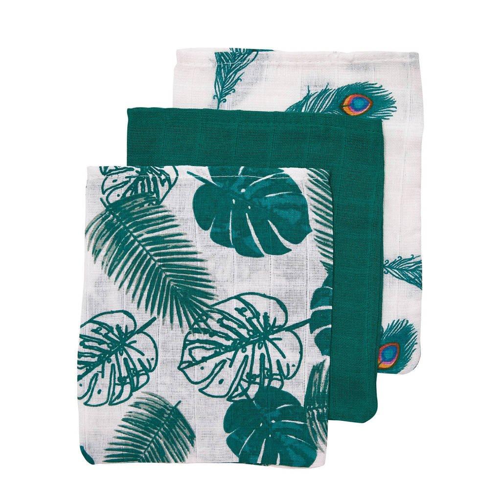 Meyco washandjes Tropical leaves - set van 3 emerald green-Peacock, Emerald Green