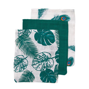 washandjes Tropical leaves - set van 3 emerald green-Peacock