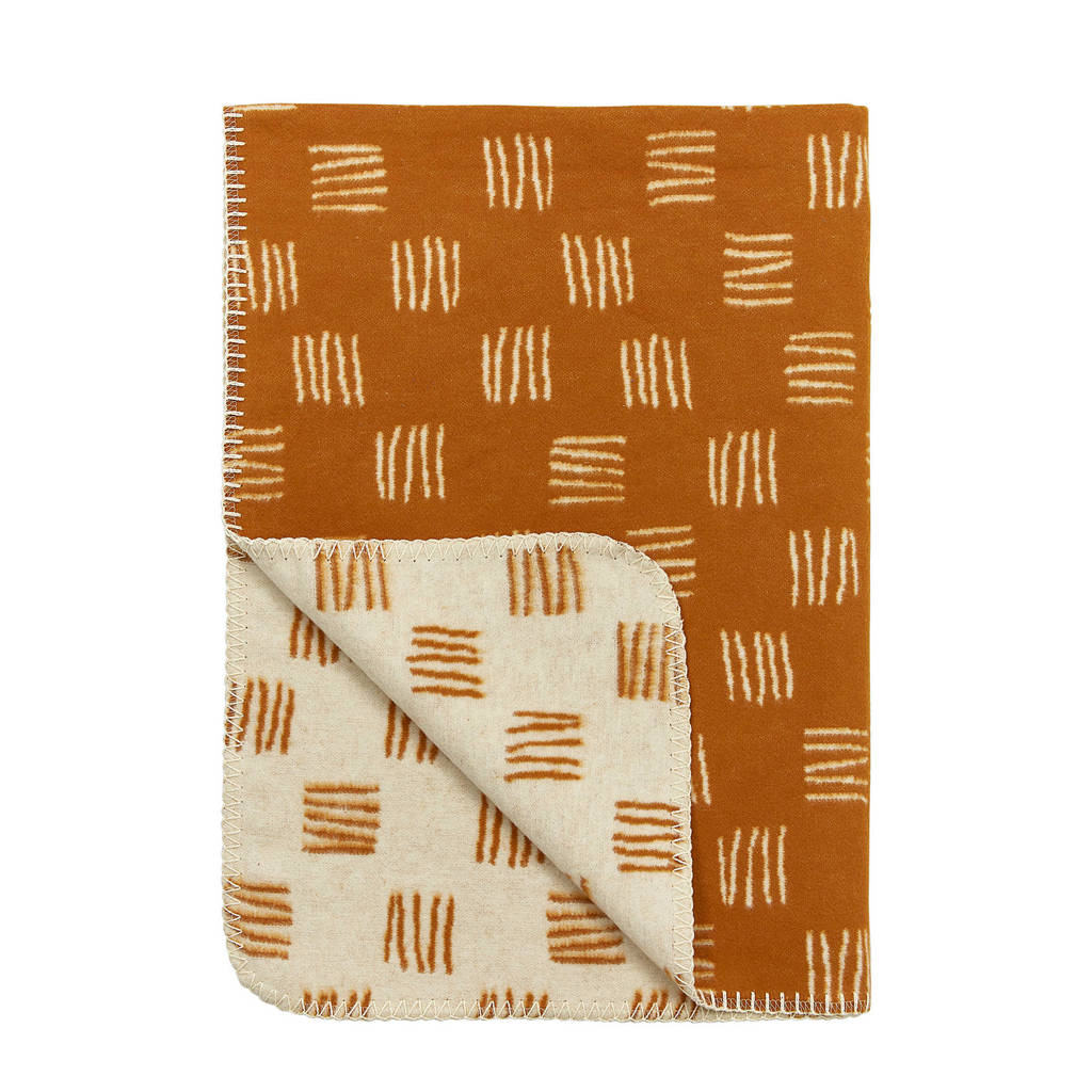 Meyco flanel ledikantdeken block stripe camel/offwhite, Block Stripe, 120