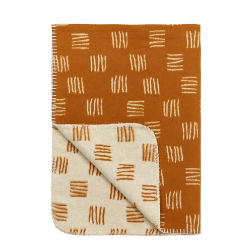 Meyco flanel wiegdeken block stripe camel/offwhite