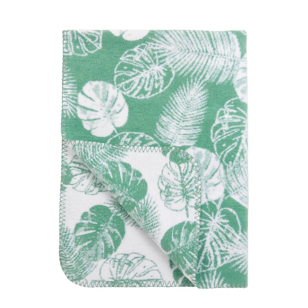 Meyco baby wiegdeken tropical leaves groen, Groen, 75