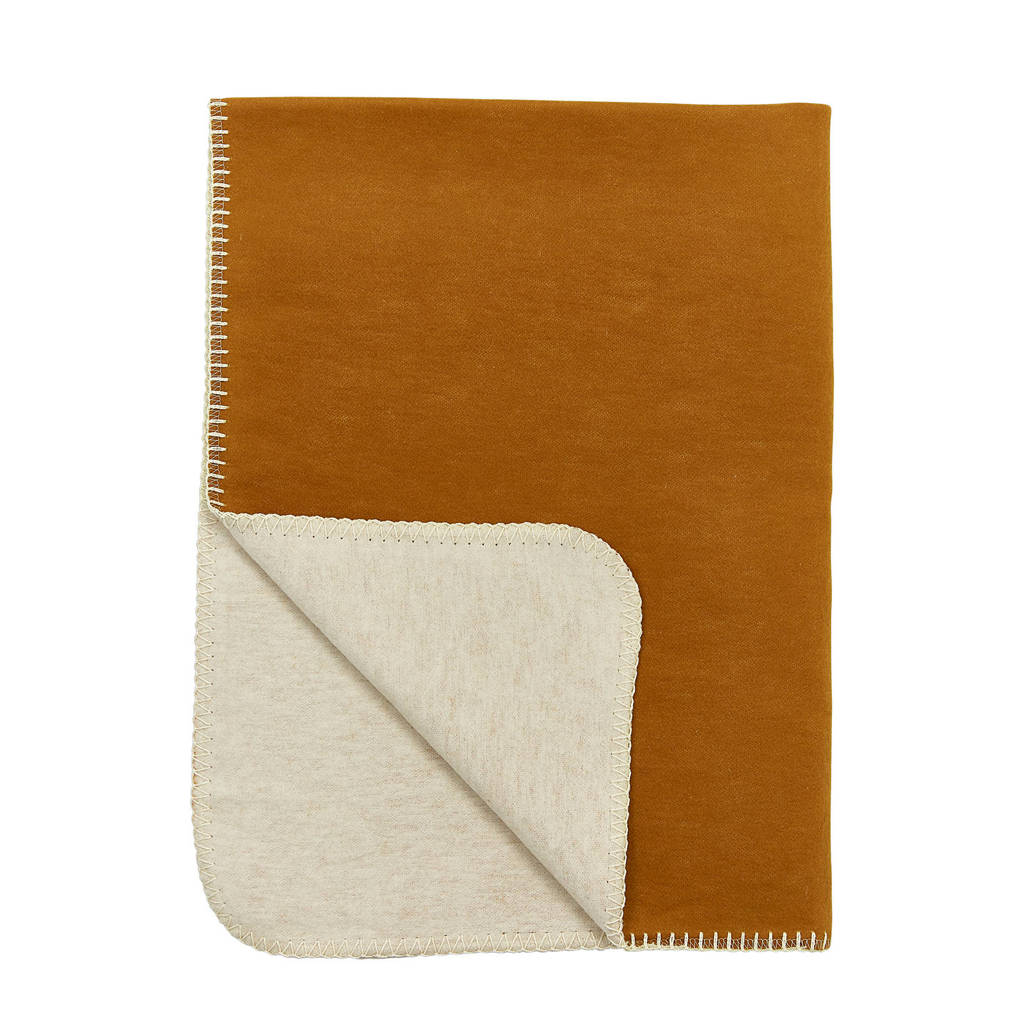 Meyco flanel wiegdeken double face camel/offwhite, Double Face, 75