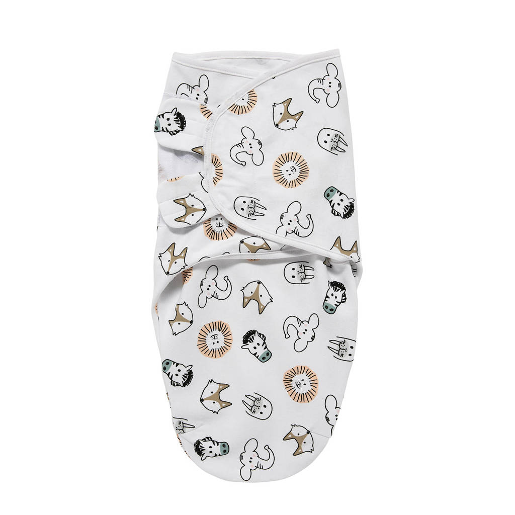 Meyco swaddle dubbellaags 0-3 mnd Animal, Wit
