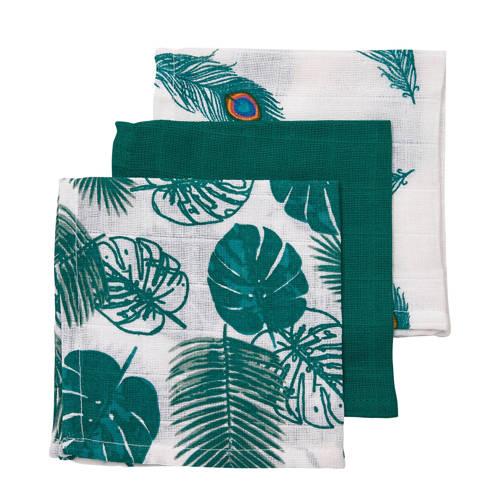 Meyco 3-pack monddoekjes Tropical leaves-Uni emerald green-Peacock