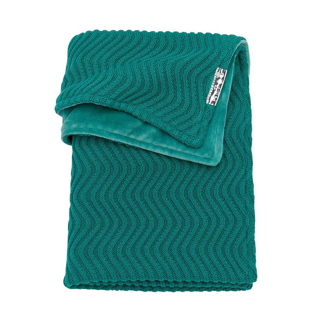 Meyco baby ledikantdeken velvet The waves emerald green, Emerald Green